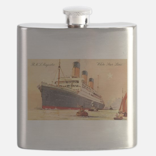 Majestic steamship historic postcard Flask