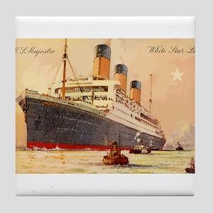 Majestic steamship historic postcard Tile Coaster