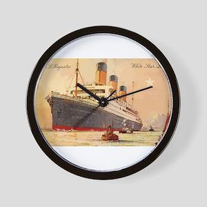 Majestic steamship historic postcard Wall Clock