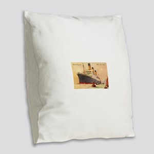 Majestic steamship historic po Burlap Throw Pillow