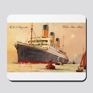 Majestic steamship historic postcard Mousepad