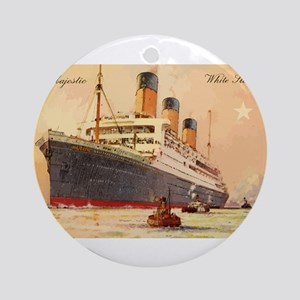 Majestic steamship historic postcar Round Ornament
