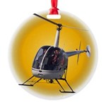 Helicopter Flying Aviator Round Ornament