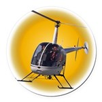Helicopter Flying Aviator Round Car Magnet