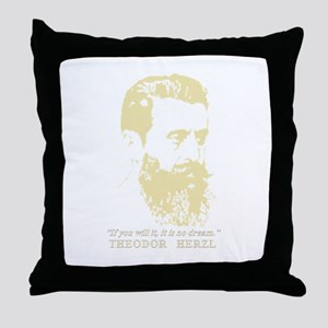 Theodor Herzl - Israel Sketch Quote Throw Pillow