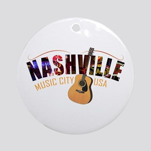 Nashville TN Music City USA Round Ornament