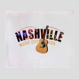 Nashville TN Music City USA Throw Blanket