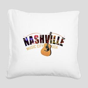 Nashville TN Music City USA Square Canvas Pillow