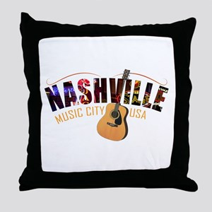 Nashville TN Music City USA Throw Pillow