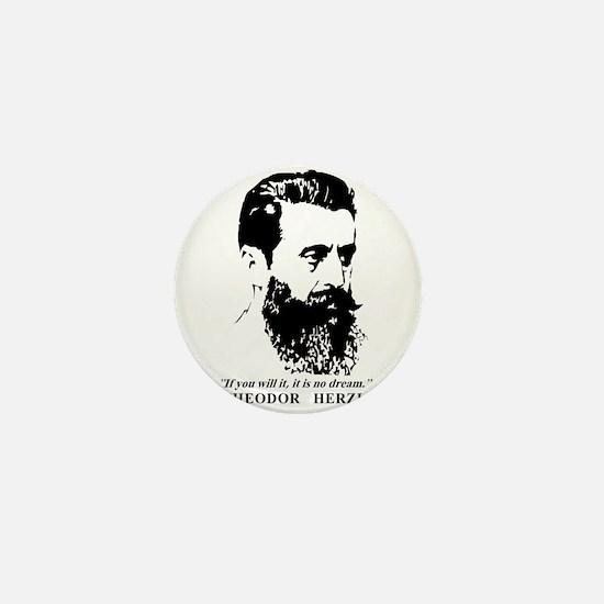 Theodor Herzl - Israel Quote Mini Button