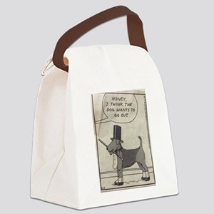 The Airedale Wants to go out Canvas Lunch Bag