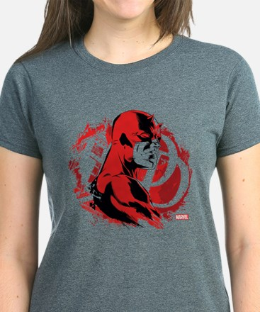 Daredevil Splatter Background Women's Dark T-Shirt