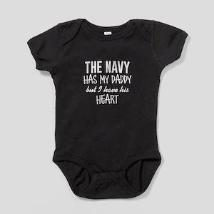Navy Daddy's Heart Baby Bodysuit