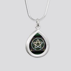 Pentacles Silver Teardrop Necklace