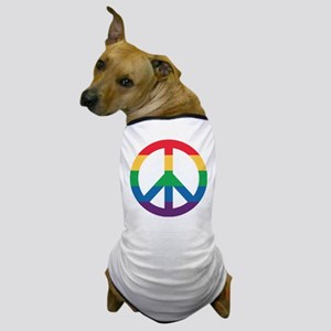 Rainbow Peace Sign Dog T-Shirt