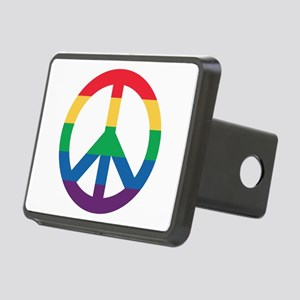 Rainbow Peace Sign Rectangular Hitch Cover