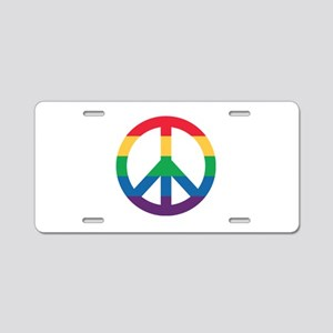 Rainbow Peace Sign Aluminum License Plate