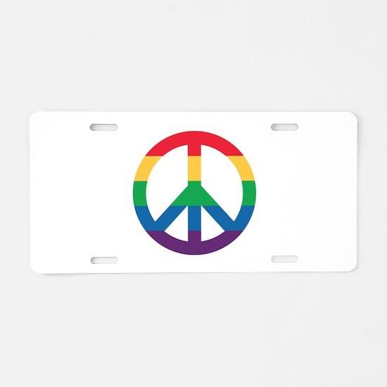 Rainbow Peace Sign Aluminum License Plate