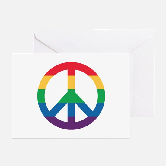 Rainbow Peace Sign Greeting Cards