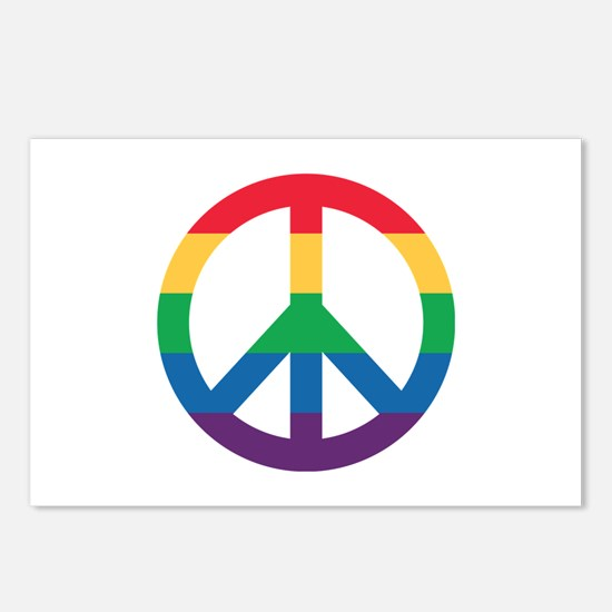 Rainbow Peace Sign Postcards (package Of 8)