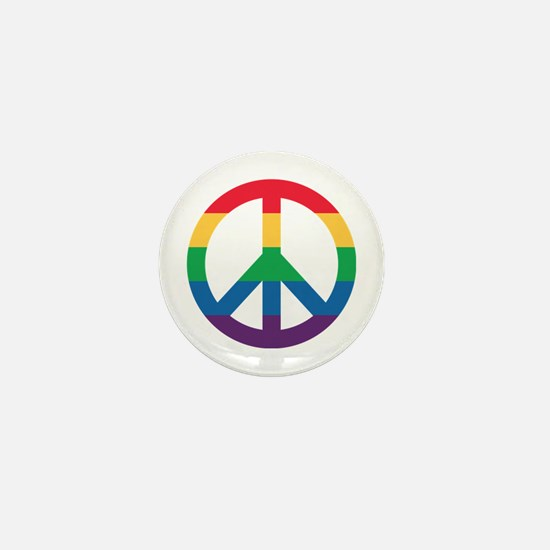 Rainbow Peace Sign Mini Button (10 Pack)