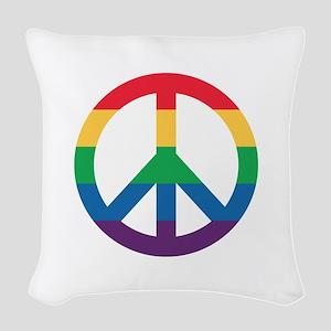 Rainbow Peace Sign Woven Throw Pillow