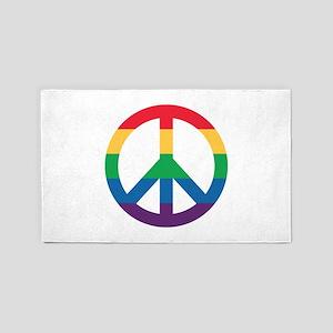 Rainbow Peace Sign Area Rug