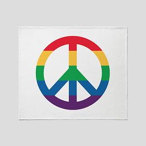 Rainbow Peace Sign Throw Blanket