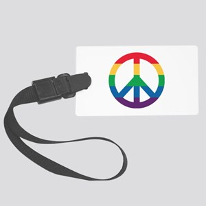 Rainbow Peace Sign Large Luggage Tag