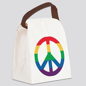 Rainbow Peace Sign Canvas Lunch Bag