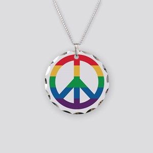 Rainbow Peace Sign Necklace Circle Charm