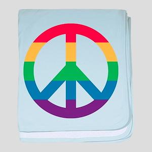 Rainbow Peace Sign baby blanket