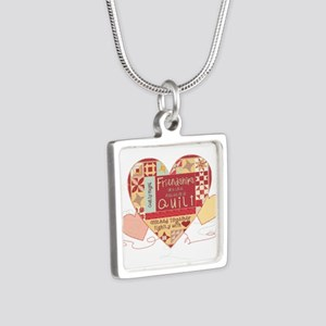 Friendships are like Quilts in Hearts Necklaces