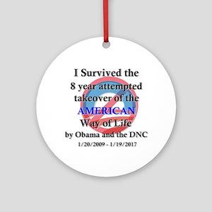 I Survived Obama Round Ornament