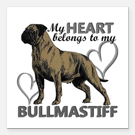 """Bullmastiff Square Car Magnet 3"""" x 3"""""""