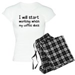 When My Coffee Starts Worki Women's Light Pajamas