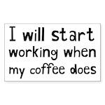When My Coffee Starts Working Sticker (Rectangle)