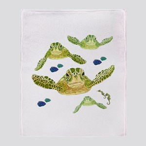 Sea turtles, fish and sea horses 2 Throw Blanket