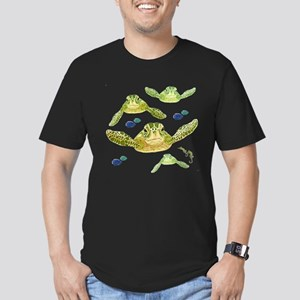 Sea turtles, fish and Men's Fitted T-Shirt (dark)