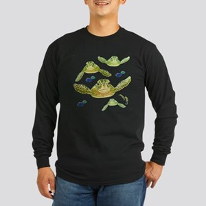 Sea turtles, fish and sea Long Sleeve Dark T-Shirt