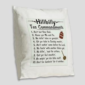 Hillbilly 10 Commandments Burlap Throw Pillow