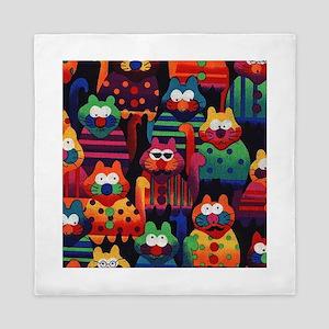 Cool Colorful Cats Queen Duvet