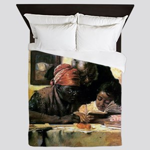 The Scholar - Vintage Oil Painting Queen Duvet