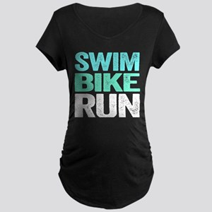 Swim Bike Run Maternity T-Shirt
