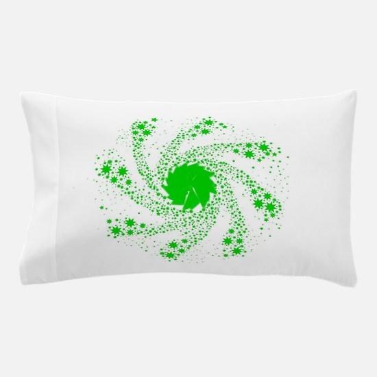 Green Pin Wheel Pillow Case