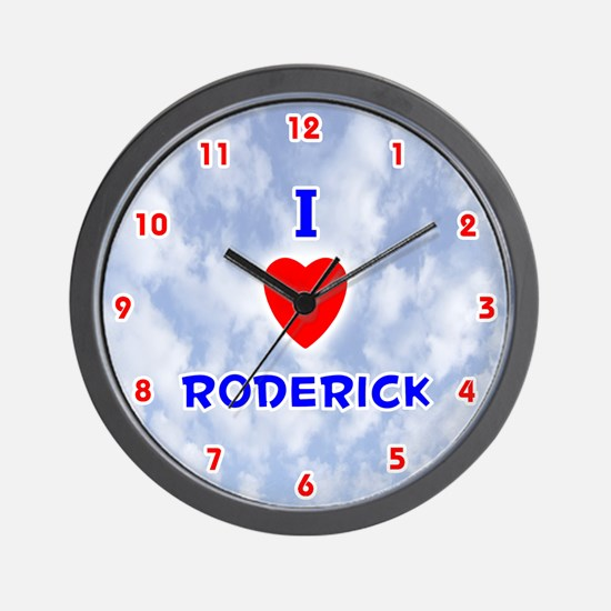 I Love Roderick (Red/Bl) Valentine Wall Clock