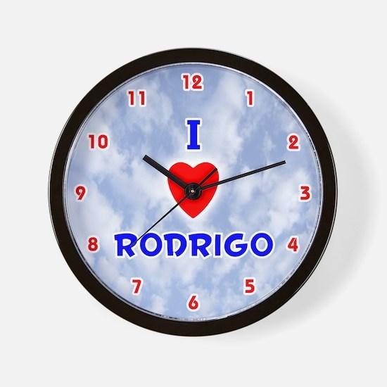 I Love Rodrigo (Red/Bl) Valentine Wall Clock