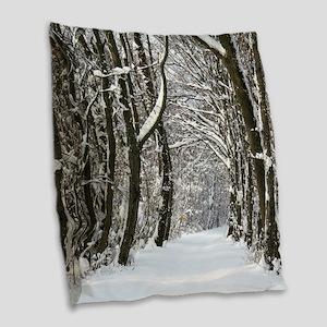 Snow trail Burlap Throw Pillow