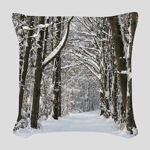 Snow trail Woven Throw Pillow