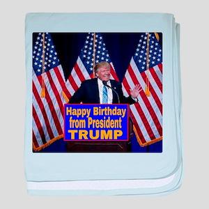 Happy Birthday from President Trump baby blanket